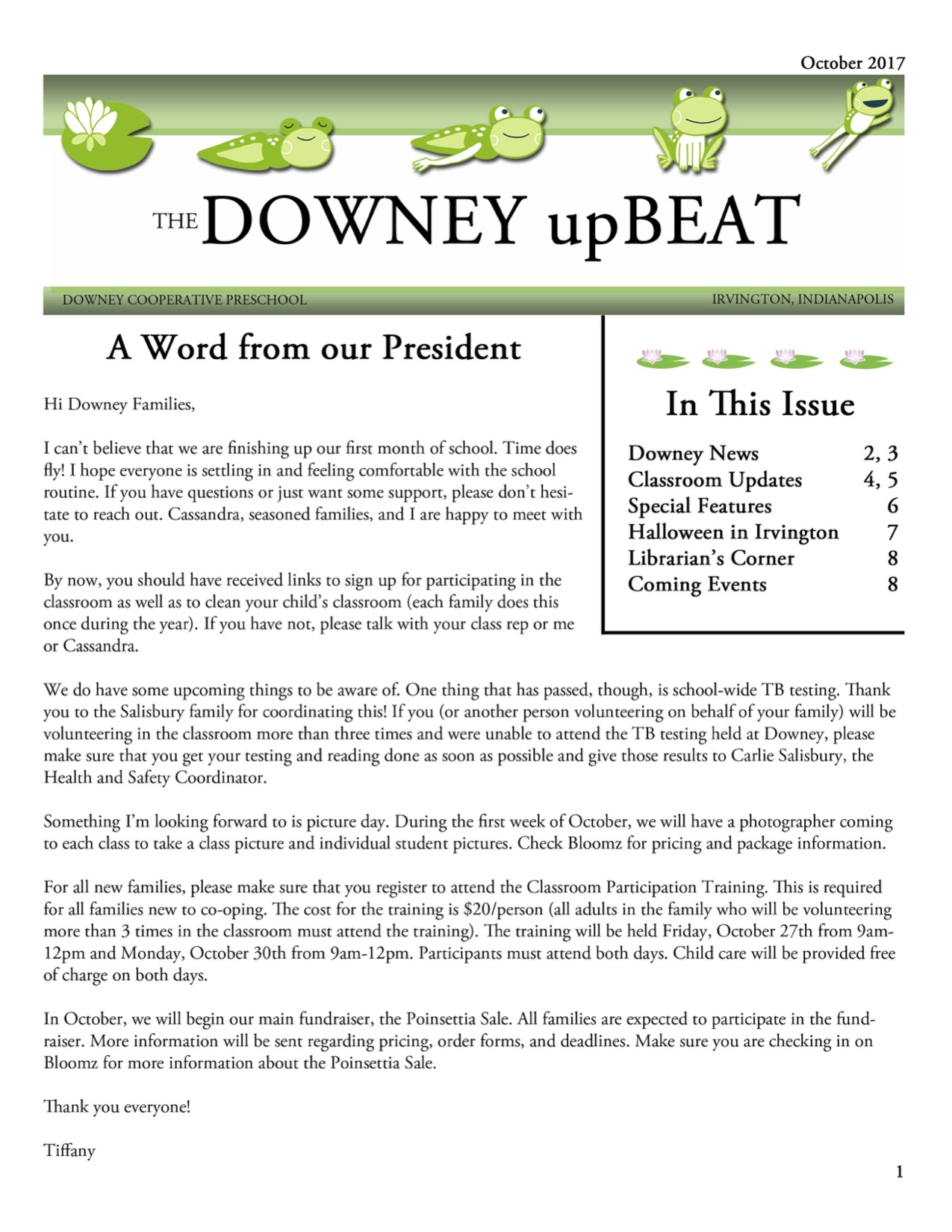 October 2018 Newsletter – Downey Cooperative Preschool AND